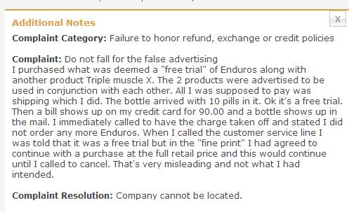 enduros-complaint